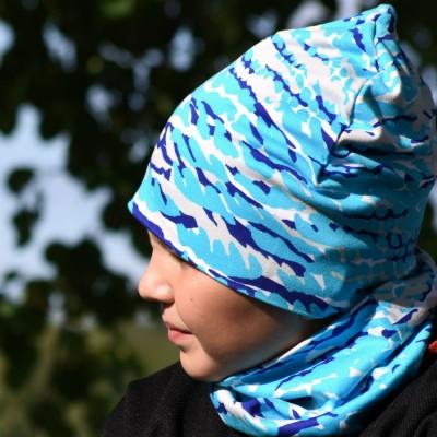 Trikoopipo Kirjava sininen
